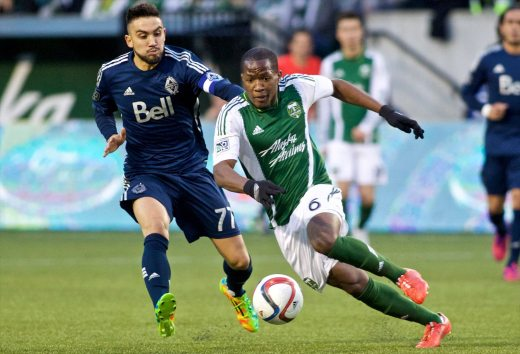 Nagbe cuts past a defender before being fouled for the 20th time.